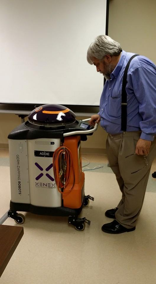 Danville Computer Doc meets Xenex Robot Addie at EMRMC in Danville KY